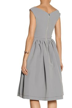 Light-gray satin-crepe Pleated skirt, partially lined Zip fastening along back 65% acetate, 29% polyamide, 6% elastane; lining: 100% polyester Dry clean