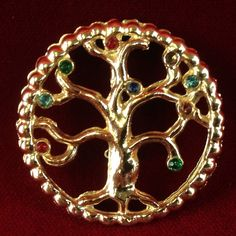 Vintage Gold Tone Gemstone Round Tree Brooch CB688|We combine shipping|No Question Refunds|Bid $60 for free shipping. Starting at $1