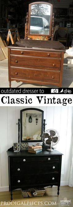 An outdated dresser just needs a little TLC and new look to get it back to the classic vintage style by Prodigal Pieces http://www.prodigalpieces.com #prodigalpieces