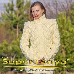 Alpaca sweater in cream ivory handmade cable knit designer