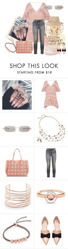 """""""Peach/Gray"""" by kloeyblue ❤ liked on Polyvore featuring ViX, Croft & Barrow, Under One Sky, Current/Elliott, Alexis Bittar, Marie Mas, Monica Vinader and H&M"""