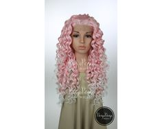 Pastel Pink Ombre Lace Front Wig / Long Spiral Curly Hairstyle Trendy Scene Pokemon Cosplay Steven Universe Costume / Princess Series LP054 by PungoPungo on Etsy