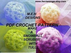 CROCHET PATTERN num Snowball Scrubbie, for Kitchen or Bath . make them with netting or tulle for pennies, permission to sell them Scrubby Yarn, Crochet Scrubbies, Knit Or Crochet, Crochet Things, Cleaning Items, Crochet Kitchen, Snowball, Pattern Making, Crochet Flowers