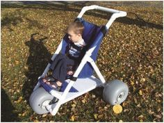 There have been several requests for a beach wheelchair. There have been three major themes. Simple PVC beach stroller Full PVC chair with the big balloon tires that are easy to roll on the s. Pvc Chair, Pvc Pipe Projects, Beach Buggy, Inflatable Kayak, Cerebral Palsy, Beach Chairs, Lounge Chairs, Therapy Activities, Therapy Ideas