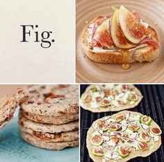 Clockwise from top left: Fig and Prosciutto Crostini, Fig, Flaxseed, and Pecan Cookies, and Rustic Fig Pizza. #noms