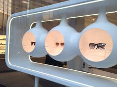 Window display: Oliver Peoples, in Chicago's Gold Coast.