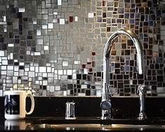 Silver Mirror Mosaic Tile   Backsplash Inspiration   Kitchen