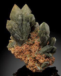 Green Prase Quartz (Hedenbergite included) on Andradite Garnet!