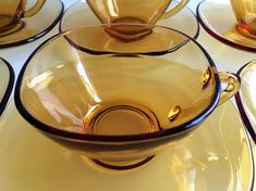 Vereco coffee cups and saucers / French amber glass / vintage Coffee Cups And Saucers, Cup And Saucer, Cafe Style, Amber Color, Retro Chic, Amber Glass, Uk Shop, Have Time, Punch Bowls