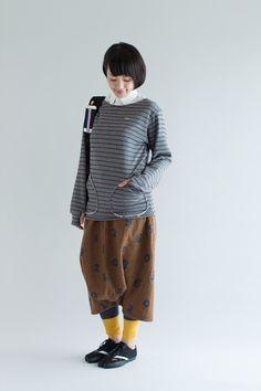 パイルボーダー ボートネックスウェットシャツ/杢墨×濡羽色(もくずみ×ぬればいろ) - SOU・SOU netshop (ソウソウ) - 『新しい日本文化の創造』