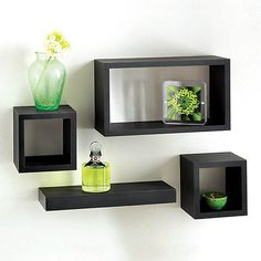 Set of 4 rectangle floating wall storage #display unit #cubes #shelves,  View more on the LINK: http://www.zeppy.io/product/gb/2/151662840003/