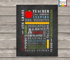 """50% OFF - Printable End of the Year Chalkboard Subway Art Sign - Personalized Teacher Gift - 8 x10"""" JPEG Digital File"""
