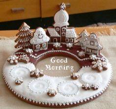 Ginger bread wreath with 3-D village powdered sugar snow