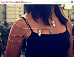 BLACK FRIDAY SALE silver feather body chain, tribal necklace, turquoise necklace, feather necklace, bird necklace on Etsy, $34.00