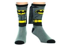 Answer the Bat-Signal, but first put on your Batman Cape Crew Socks for men. Black, grey, and yellow Batman socks fully equipped with a black cape on the back. Crazy superhero socks for men who are avid comic book fans and Batman fanatics. Batman Cape, Batman Suit, Batman Logo, Superman, Up Costumes, Super Hero Costumes, Dc Comics, Pijama Batman, Funko Pop