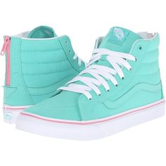 Vans SK8-Hi Slim Zip Florida Keys) Skate Shoes ($70) ❤ liked on Polyvore featuring shoes, sneakers, vans, hi tops, leather skate shoes, vans sneakers, skate shoes high tops and high top sneakers