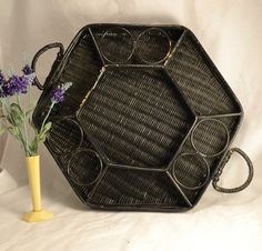 Black Wicker Serving Tray  Divided Hexagon by ChicMouseVintage