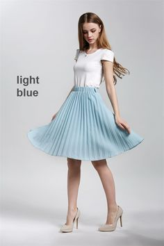 New light blue knee length high elastic waist pleated women skirt spring summer Blue Pleated Skirt, Pleated Skirt Outfit, Skirt Outfits, Summer Outfits Women, Fall Winter Outfits, Spring Outfits, Blue Blouse Outfit, Light Blue Blouse, Summer Office