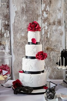 A black, white and red lace cake for a contemporary princess bride. Another beauty from our Majestic 2013 Collection.
