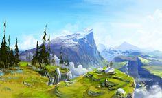 Fascinating Digital Painting by British Artist Daniel Conway Environment Sketch, Environment Design, Fantasy Landscape, Landscape Art, Landscape Illustration, James Zapata, Mountain Landscape, Environmental Art, Animation