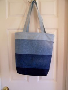 Ombre Recycled Jeans Beach Tote Denim Bag with by AptosBeach, $35.00