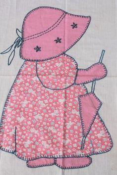 sunbonnet sue quilt blocks | Sunbonnet Sue patchwork applique quilt block, hand embroidered vintage ...
