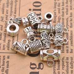 4Pcs Tibetan Silver Connector Bails For Jewellery Making **UK SELLER**