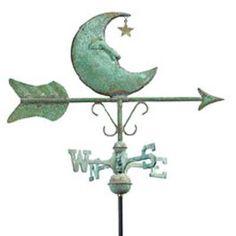 Antique Weathervanes | Antique Copper Moon Cottage Weathervane w/garden pole
