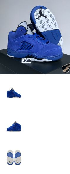 0ba4cbe84aca2a Baby Shoes 147285  Nike Air Jordan Retro 5 V Game Royal Blue Suede Black  Infant Size 4-10C Toddler -  BUY IT NOW ONLY   97 on eBay!