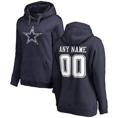 affcca6b3 NFL Pro Line by Fanatics Branded Dallas Cowboys Women s Navy Personalized  Name  amp  Number Pullover