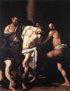 Michelangelo Caravaggio, La flagelación de Cristo, 1607 Óleo sobre lienzo, 286 x 213, Museo de Capodimonte, Nápoles.