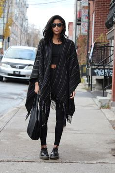 Urban Outfitters Poncho, American Apparel crop top, Topshop Skinny Jeans, Dr Martens shoes http://FashionCognoscente.blogspot.com