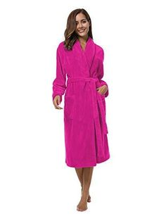 affd0c4f7d Women s Fuchsia Fleece Bathrobe Medium Shawl Collar Plush Warm Thick Spa  Robe  Sioro  Robes