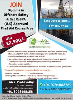 GWG providing diploma in offshore safety @ low cost http://greenwgroup.co.in/traini…/diploma-in-offshore-safety/