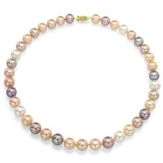 DaVonna 14k 9-10mm -Pink Freshwater Cultured Pearl Strand Necklace