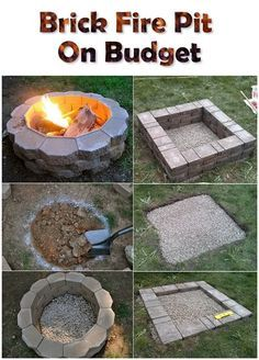 DIY Fireplace Ideas - Brick Firepit On A Budget - Do It Yourself Firepit Projects and Fireplaces for Your Yard, Patio, Porch and Home. Outdoor Fire Pit Tutorials for Backyard with Easy Step by Step Tutorials - Cool DIY Projects for Men and Women Diy Fire Pit, Fire Pit Backyard, Backyard Patio, Backyard Landscaping, Landscaping Ideas, Landscaping Software, Cheap Fire Pit, How To Build A Fire Pit, Fire Pit Food