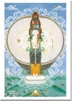 El Buda de la Compasión, personificación de la compasión de todos los seres iluminados.  Disponible en minitarjeta, tarjeta A6 y tarjeta grande A5.