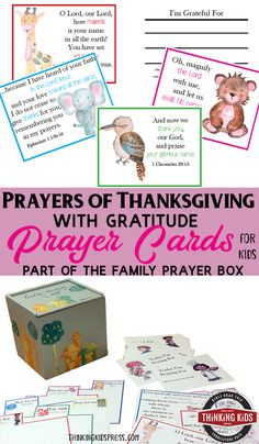 Prayers of Thanksgiving with Gratitude Prayer Cards for Kids Teach your kids to pray with gratitude with this set of prayer cards for kids - a part of the Family Prayer Box craft. Prayer For Parents, Prayer For Family, Prayer Box, Prayer Cards, Free Homeschool Curriculum, Homeschool Kindergarten, Thanksgiving Prayer, Happy Thanksgiving, Art Videos For Kids