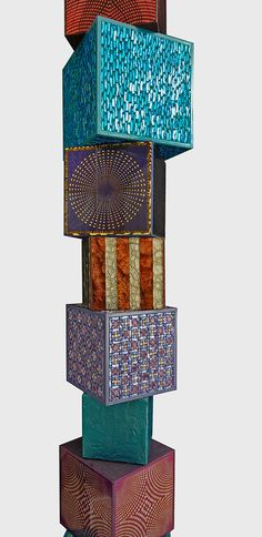 Colored cubes Totem - by Dusciana Bravura