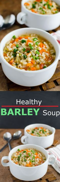 Perfect option to add. Perfect option to add whole Homemade healthy barley soup recipe. Perfect option to add whole grains into diet. Ready to enjoy in about 30 mins. Healthy Soup Recipes, Vegetarian Recipes, Cooking Recipes, Vegetarian Soup, Vegetarian Protein, Vegetarian Barbecue, Whole30 Recipes, Protein Recipes, Vegetarian Cooking