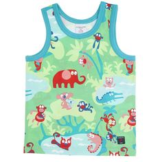 Polarn O. Pyret Quirky Animal Print Kids Vest. Fun, colourful, safari, summer kids top.