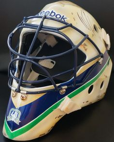 Roberto Luongo Game Used Mask - Vancouver Canucks Goalie Mask, Hockey Goalie, Vancouver Canucks, Nhl, Football Helmets, Money, Games, Masks, Silver