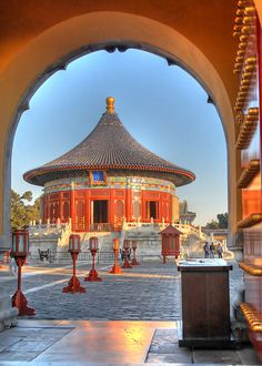 https://flic.kr/p/4jXteQ | Temple of Heaven | The Temple of Heaven, literally the Altar of Heaven (天壇; 天坛) is a complex of Taoist buildings situated in southeastern urban Beijing.  Showing here is the Imperial Vault of Heaven (皇穹宇), a single-gabled circular building built on a single level of marble stone base. It is located south of the Hall of Prayer for Good Harvests and resembles it, but is smaller. It is surrounded by a smooth circular wall, the Echo Wall, that can transmit sounds over…