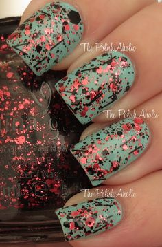 **China Glaze - Scattered & Tattered (Glitz, Bitz 'n Pieces Collection Spring 2013) / ThePolishAholic [1 Coat Shown Over NOPI-MyLifesaver]