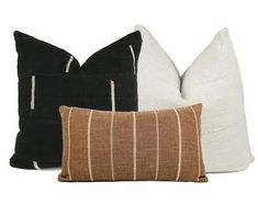 Pillow Combo by One Affirmation African Mudcloth Pillow Cover in Black with Cream African Mudcloth Pillow Cover in Cream Rust Stripe Pillow Cover Cotton, Rayon, Linen)Backing: Flaxed Linen/Cotton Blend in NaturalInserts not included. Beige Pillows, Modern Throw Pillows, Boho Pillows, 20x20 Pillow Covers, Pillow Cover Design, Green Velvet Pillow, Mid Century Living Room, African Mud Cloth, Furniture