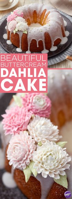 Beautiful Buttercream Dahlia Cake - A simple arrangement of piped buttercream dahlias turns this Buttercream Dahlia Cake into something truly beautiful. Perfect for a Sunday brunch, a Mother's Day celebration or a bridal shower, this cake features simple decorations and a subtle touch of feminine flowers to help add to the wow factor. Specialty decorating tip 81 helps give these dahlias their distinct look and makes the flowers look like they're actually blooming on the cake!