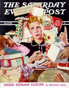 Store Gift Exchange, art by Douglass Crockwell. Saturday Evening Post - January 11, 1941.