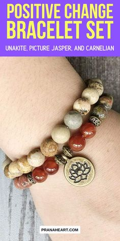 Positive Change Bracelet Set – Unakite, Picture Jasper, and Carnelian – Diy Bracelets İdeas. Wire Jewelry, Jewelry Crafts, Gemstone Jewelry, Beaded Jewelry, Jewelery, Beaded Bracelets, Jewelry Ideas, Necklaces, Homemade Jewelry