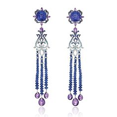Chopard: Precious Temptations Earrings set in 18ct white gold with blue sapphires (62.51 carats), tanzanites, Paraiba tourmalines, amethysts and diamonds