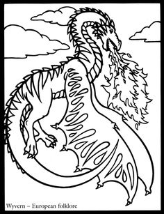 81 Best Coloring Pages Lineart Dragons Images Coloring Book